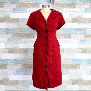 Talbots Linen Wiggle Midi Shirt Dress Red